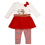 Clarice Size 3M 2-Piece  You Light Up My Life  Tunic and Stripe Legging Set in Red