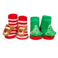 Waddle® 2-Pack Holiday Rattle Socks in Red/Green
