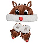 Rudolph 2-Piece Hat and Bootie Set in Brown