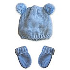 Toby™ Newborn 2-Piece Pompom Hat and Mitten Set in Light Blue