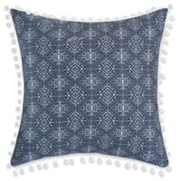 Chic Home Birch Garden Embroidered 16-Inch Square Throw Pillow in Navy/White