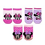 Disney Baby® Size 0-6M 3-Pack Minnie Rattle Pom Quarter Socks in Pink