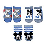Disney Baby® Size 0-6M 3-Pack Mickey Rattle Pom Quarter Socks in White