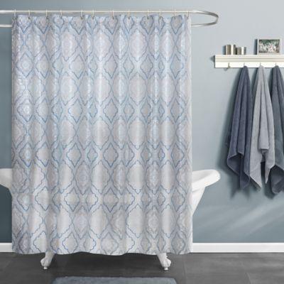 maytex primrose shower curtain in bluewhite