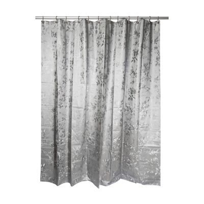 india ink etched rose shower curtain in grey