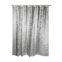 Etched Rose Shower Curtain in Grey