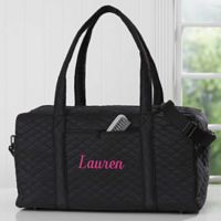 Embroidered Quilted Duffel Bag in Black 23d9503f78561
