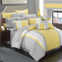 Chic Home Melanie 24-Piece King Comforter Set in Yellow/Grey