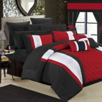 Chic Home Melanie 24-Piece King Comforter Set in Red/Black