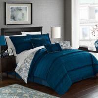 Chic Home Thess 7-Piece Reversible Queen Comforter Set in Navy