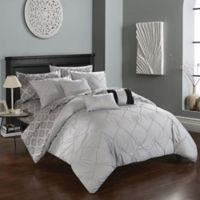 Chic Home Dahlia 10-Piece Queen Comforter Set in Grey