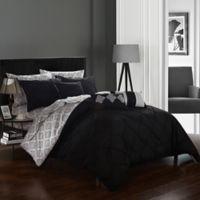 Chic Home Dahlia 10-Piece Queen Comforter Set in Black