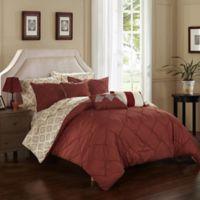 Chic Home Dahlia 10-Piece Queen Comforter Set in Marsala