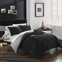 Chic Home Portia 4-Piece Reversible Full/Queen Comforter Set in Black