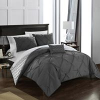Chic Home Portia 4-Piece Reversible Full/Queen Comforter Set in Grey