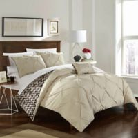 Chic Home Portia 4-Piece Reversible Full/Queen Comforter Set in Beige