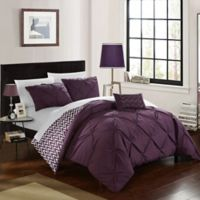 Chic Home Portia 4-Piece Reversible Full/Queen Comforter Set in Purple