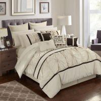 Chic Home Palmetto 16-Piece Queen Comforter Set in Beige
