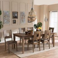 Baxton Studio Gillian 7-Piece Extendable Dining Set in Grey