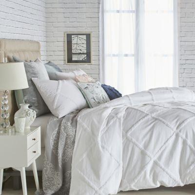 Chenille Lattice King Duvet Cover In White