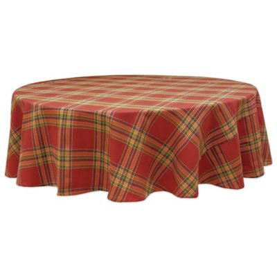 Bardwil Linens Autumnal Plaid 70 Inch Round Tablecloth