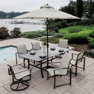 agio savoye 7piece outdoor dining set in charcoal