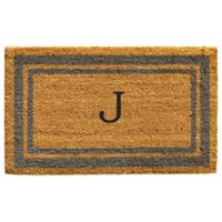 "Home & More Monogram Letter ""J"" 24-Inch x 36-Inch Border Door Mat in Periwinkle"