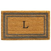 "Home & More Monogram Letter ""L"" 24-Inch x 36-Inch Border Door Mat in Periwinkle"