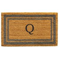 "Home & More Monogram Letter ""Q"" 24-Inch x 36-Inch Border Door Mat in Periwinkle"
