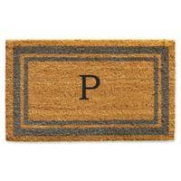 "Home & More Monogram Letter ""P"" 24-Inch x 36-Inch Border Door Mat in Periwinkle"