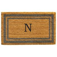 "Home & More Monogram Letter ""N"" 18-Inch x 30-Inch Border Door Mat in Periwinkle"