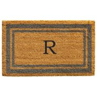 "Home & More Monogram Letter ""R"" 24-Inch x 36-Inch Border Door Mat in Periwinkle"