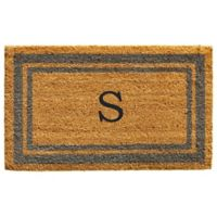 "Home & More Monogram Letter ""S"" 24-Inch x 36-Inch Border Door Mat in Periwinkle"