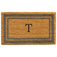 "Home & More Monogram Letter ""T"" 24-Inch x 36-Inch Border Door Mat in Periwinkle"
