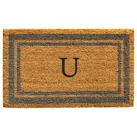 "Home & More Monogram Letter ""U"" 24-Inch x 36-Inch Border Door Mat in Periwinkle"