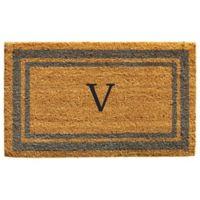 "Home & More Monogram Letter ""V"" 24-Inch x 36-Inch Border Door Mat in Periwinkle"