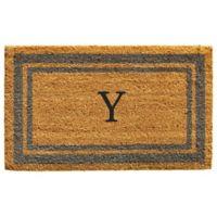"Home & More Monogram Letter ""Y"" 24-Inch x 36-Inch Border Door Mat in Periwinkle"