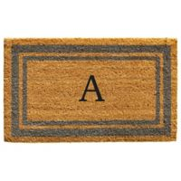 """Home & More Monogram Letter """"A"""" 18-Inch x 30-Inch Border Door Mat in Periwinkle"""