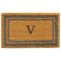 "Home & More Monogram Letter ""V"" 18-Inch x 30-Inch Border Door Mat in Periwinkle"