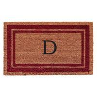 """Home & More Monogram Letter """"D"""" 24-Inch x 36-Inch Border Door Mat in Burgundy"""