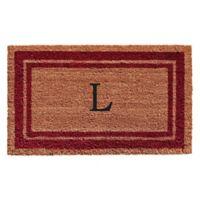 "Home & More Monogram Letter ""L"" 24-Inch x 36-Inch Border Door Mat in Burgundy"