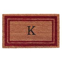 """Home & More Monogram Letter """"K"""" 24-Inch x 36-Inch Border Door Mat in Burgundy"""