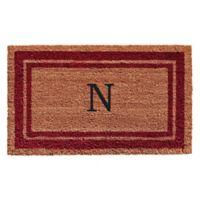 "Home & More Monogram Letter ""N"" 24-Inch x 36-Inch Border Door Mat in Burgundy"