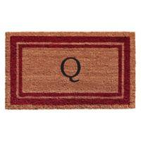 "Home & More Monogram Letter ""Q"" 24-Inch x 36-Inch Border Door Mat in Burgundy"