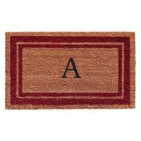 "Home & More Monogram Letter ""A"" 24-Inch x 36-Inch Border Door Mat in Burgundy"