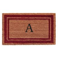 "Home & More Monogram Letter ""A"" 24-Inch x 36-Inch Border Door Mat in Burgundy"