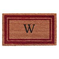 "Home & More Monogram Letter ""W"" 24-Inch x 36-Inch Border Door Mat in Burgundy"