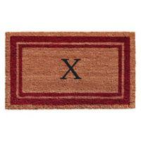 """Home & More Monogram Letter """"X"""" 24-Inch x 36-Inch Border Door Mat in Burgundy"""