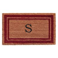 "Home & More Monogram Letter ""S"" 24-Inch x 36-Inch Border Door Mat in Burgundy"