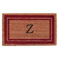 "Home & More Monogram Letter ""Z"" 18-Inch x 30-Inch Border Door Mat in Burgundy"